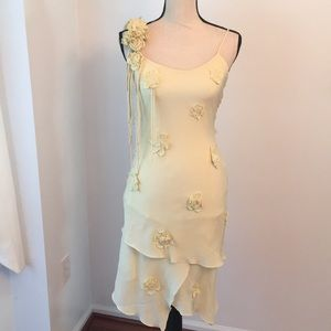 Sue Wong unique pale yellow dress